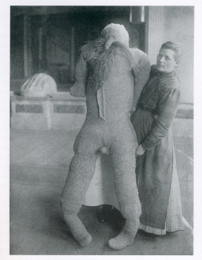Katharina Detzel with a male stuffed dummy of her own making, c 1918